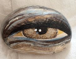 painted female brown eye