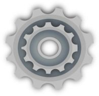 painted gray gear wheel on a white background