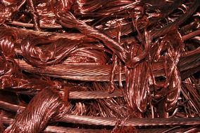 pile of copper wire, scrap metal