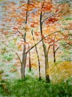 painting of autumn forest