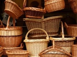 many different wicker baskets