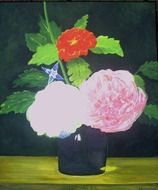 Artwork of pink flowers bouquet