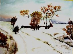 winter landscape like painting