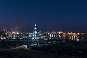 industrial area at night