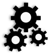Three gear wheels clipart
