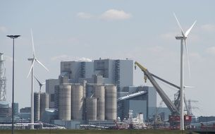 industrial plant and wind turbines