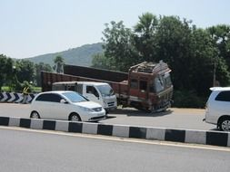 road accident with truck