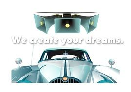 "The inscription ""we create your dreams"" between megaphones and car"