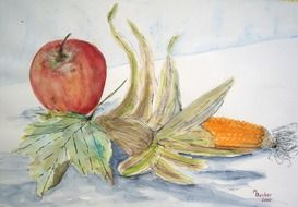 still life with corn and apple