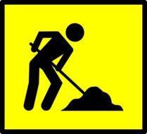 worker dig yellow sign drawing