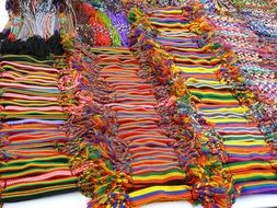 Colorful belts in the market