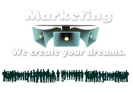 "The concept of marketing with the inscription ""marketing we create your dreams"""