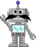 mechanical robot with moustache