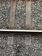 rails among gravel close-up