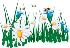 bees over colorful flowers as a graphic image