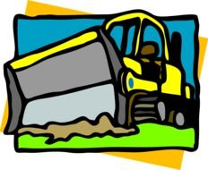 clipart,yellow bulldozer is digging the ground