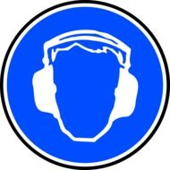 Blue and white painted head of a man with headphones