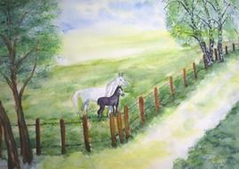 horses coupling pasture drawing