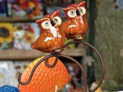 figurine with two ceramic owls