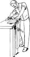 Worker in a workshop as a graphic illustration