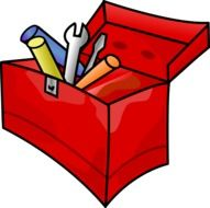 red toolbox with tools for carpentry (screwdriver, spanner, hammer)