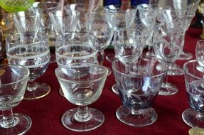variety of crystal glasses