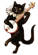 vintage photos of a cat with a guitar
