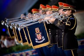 Soldiers playing trumpets