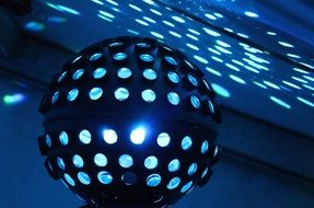 ball with blue light in a disco