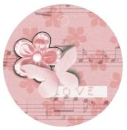 pink decorative label with a butterfly