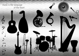 variety of musical instruments in the picture