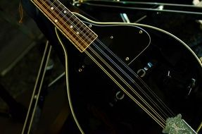 black guitar in the studio