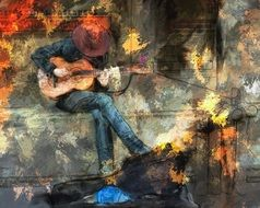 Abstract drawing of guitarist