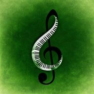 music clef with piano keys