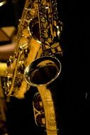 golden saxophone closeup
