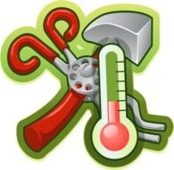 hand tools and thermometer, icon