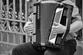 accordionist as a street musician