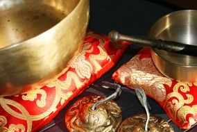 singing bowls as an exotic oriental instrument