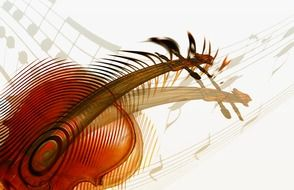 abstract drawing of a violin