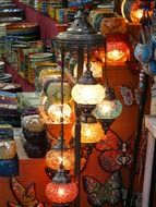 photo of the lighting turkish lamps
