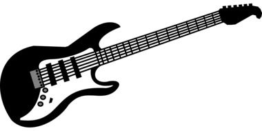 guitar electric music rock instrument black white drawing