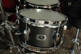 set of silver drums close up