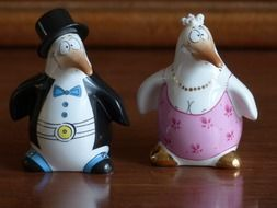 ceramic penguin bride and groom