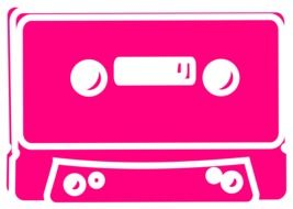 pink magnetic tape cassette