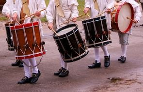 men with drums on parade