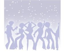 silhouettes of dancing people on a background of the starry sky