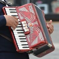 man plays the accordion closeup
