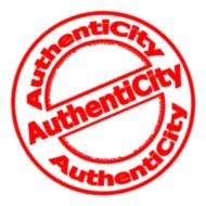 Authentic city red stamp