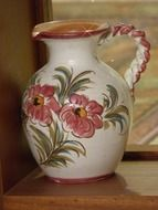 vintage Ceramic jug painted with flowers
