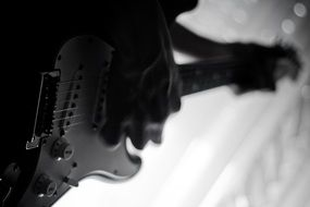 electric guitar musician black and white
